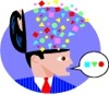 cartoon image of a man releasing creative thoughts